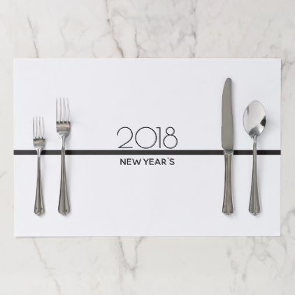 Minimalist New Years Celebration | Paper Placemats - black and white gifts unique special b&w style