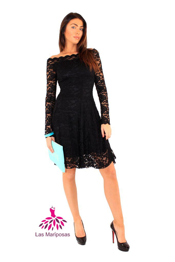 ❤️️Carol μαύρο φόρεμα δαντέλα με ανοιχτούς ώμους❤️️