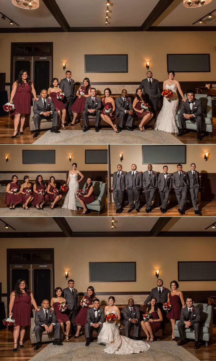 Noah's Event Venue Weddings - Beautiful bridal party group photo maroon bridesmaids dresses and gray groomsmen suits