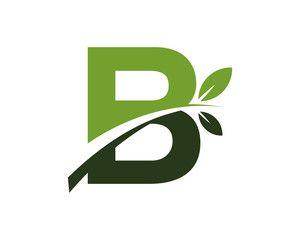 B green leaves letter swoosh ecology logo