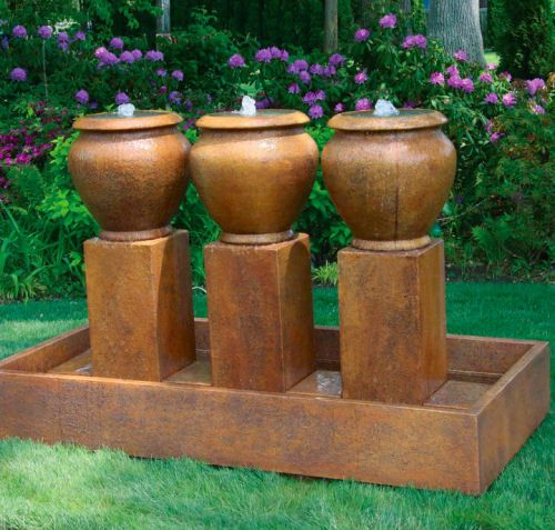 Three Urn Principessa Garden Fountain High End Decor Cement