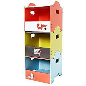 Stapelbare Spielzeugbox / Aufbewahrungskisten / Spielzeugkisten / Aufbewahrungsregal Holz 3 Hölzerne Schichten, Orange / Gelb / Blauer Fuchs Kindermöbel / Kinderzimmermöbel