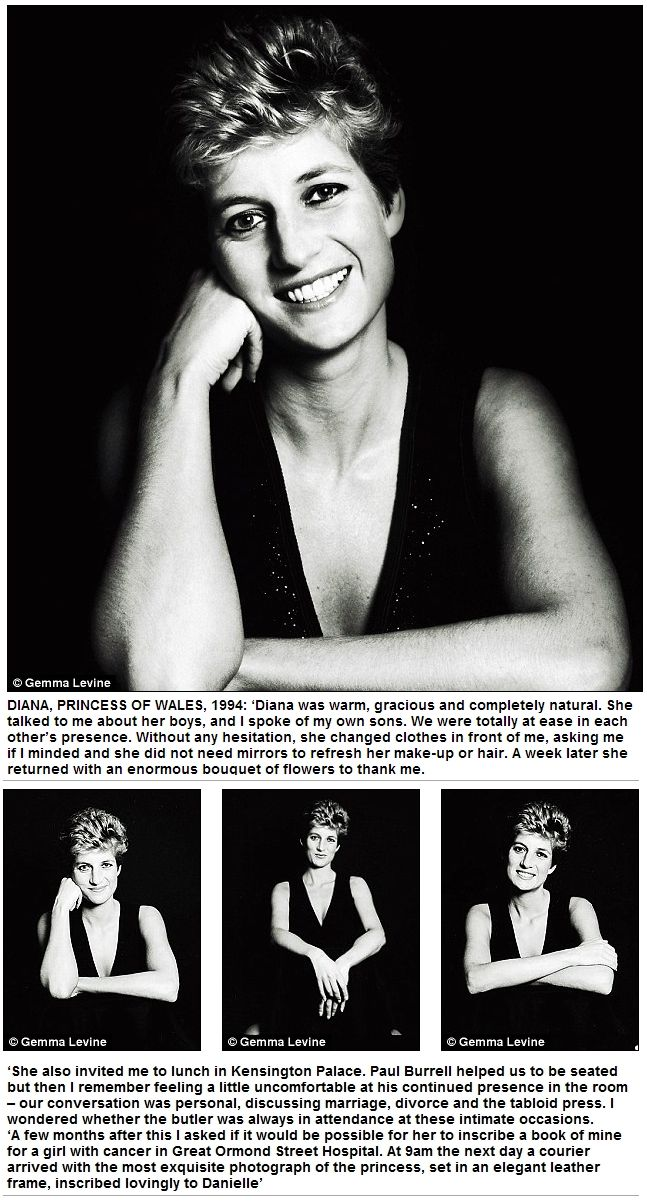 "Wonderful tribute and portraits taken by Gemma Levine ...""Diana was warm, gracious and completely natural. She talked to me about her boys and I spoke of my own sons ..."""