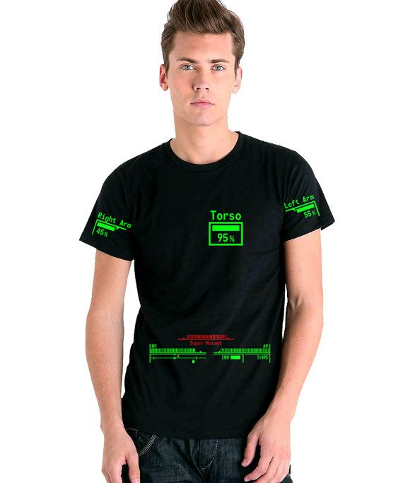 Awesome Fallout 3 t-shirt - V.A.T.S.  They even customise it, so you can be a supermutant or a vault dweller, or whatever!  - Fallout 3 / New Vegas  Personalised V.A.T.S. TShirt by ByteCage YES YES YES