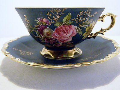 Bavaria Waldershof Germany Handarbeit 22kt Gold Teal with Rose Tea Cup Saucer
