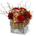 Winter Flower Arrangement in Glass Vase