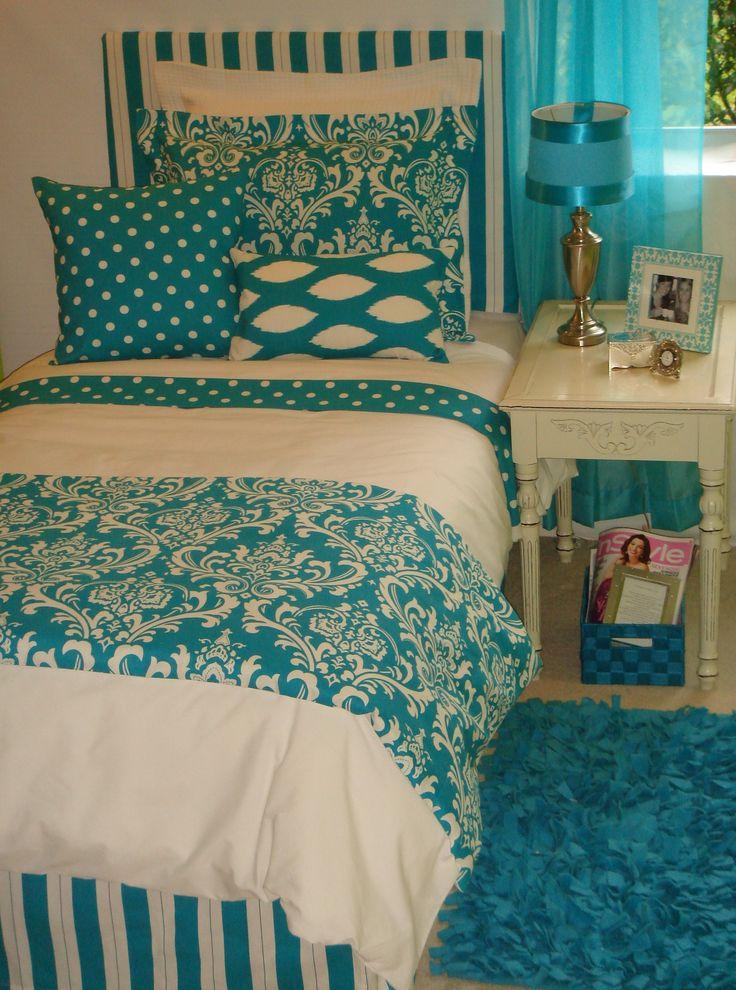 Cute Dorm Room Decorating Ideas | Trendy College Dorm Room Bedding & Dorm Decor Ideas Trendy Turquoise ...
