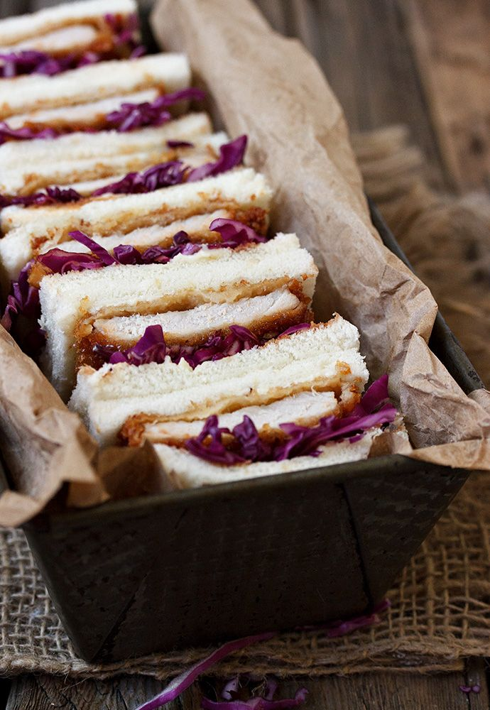 Pork Tonkatsu Sandwiches  Delicious sandwiches, served with tonkatsu sauce and shredded cabbage. Great for picnics, BBQs or just a delicious meal any time!