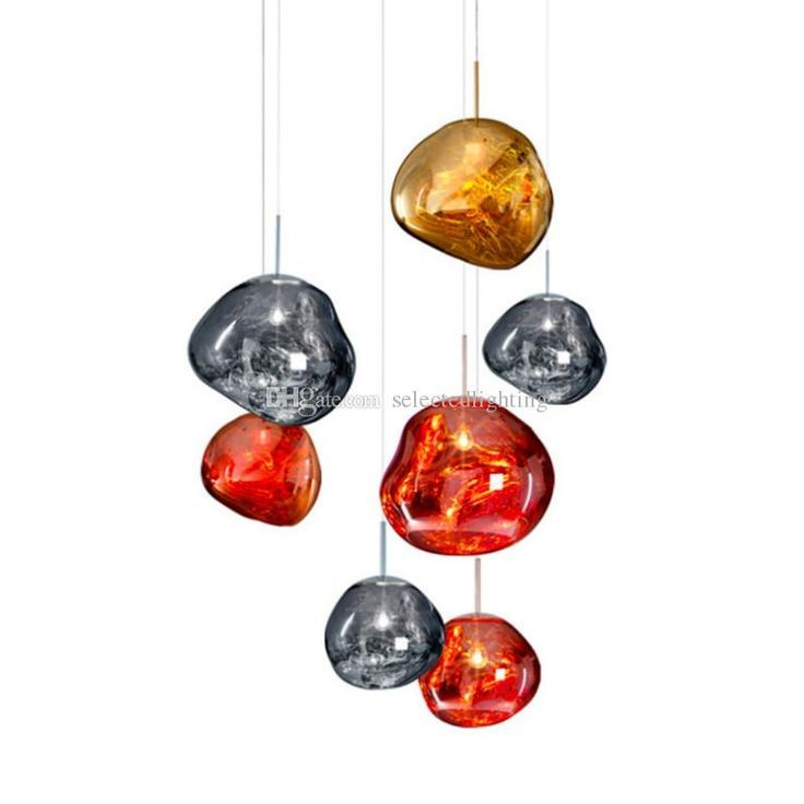 Moderne D30 40cm Tom Dixon Schmelzen Pendelleuchten Acryl Lava Unregelmassig Silber Gold Hause Dekorationen Glass Pendant Lamp Blown Glass Pendant Lava Glass