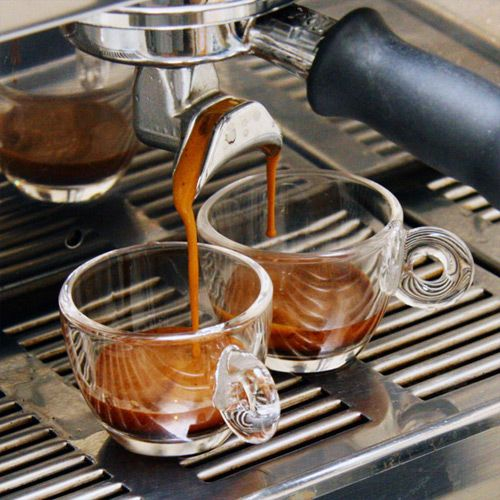 Espresso -  a concentrated coffee beverage brewed by forcing hot water under pressure through finely ground coffee.