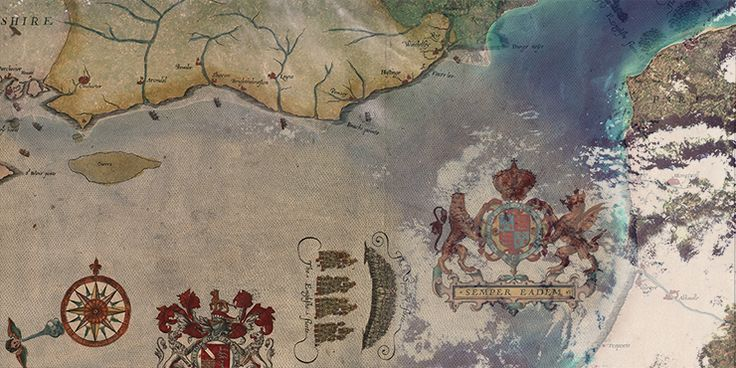 Maps of English defeat of Spanish- 1588- Wind direction illustrated Spanish Armada feature image map dissolve