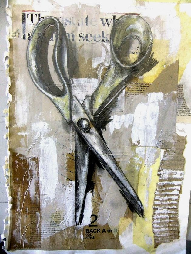 still life on mixed media background