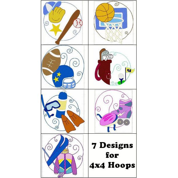 """""""Sport Circles"""" Perfect for sports fans, this #MachineEmbroidery set includes designs for baseball, basketball, football, golf, scuba diving, rollerskating and skiing too! Score today, when you hurry on over to get your set!"""