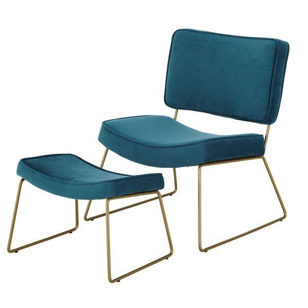 Peacock Blue Velvet Vintage Armchair And Footrest Armchair Vintage Sun Lounger Cushions Armchair