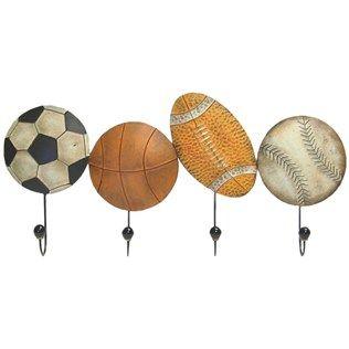 Sport Balls Metal Wall Hooks   Shop Hobby Lobby medal trophy hanger