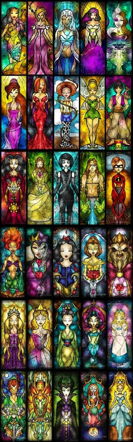 Disney heroes stained glass