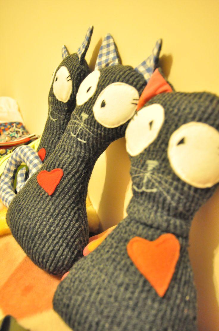 kocia rodzina- ręcznie szyte koty-stopery do drzwi #handmade #cat #stoper