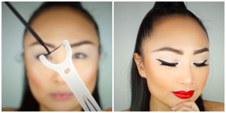 Watch this how-to for getting smooth, even cat eyeliner makeup using a dental floss pick at a stamp to create wings.