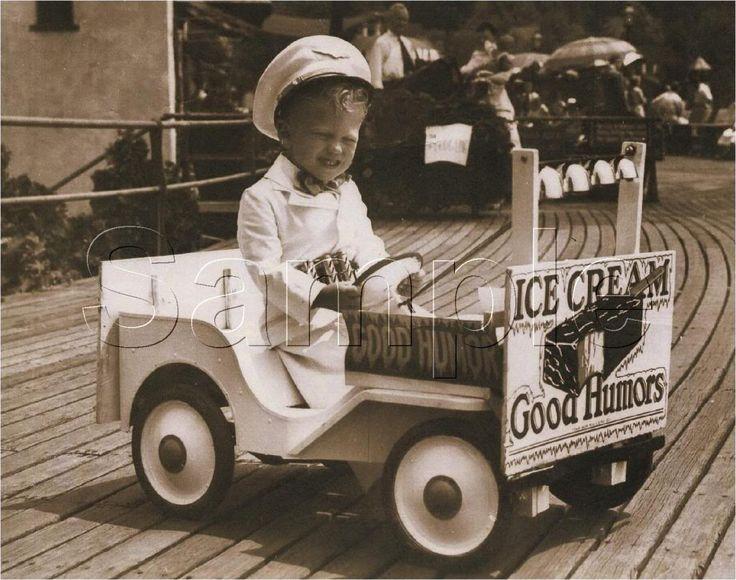 Little boy in his Good Humor truck
