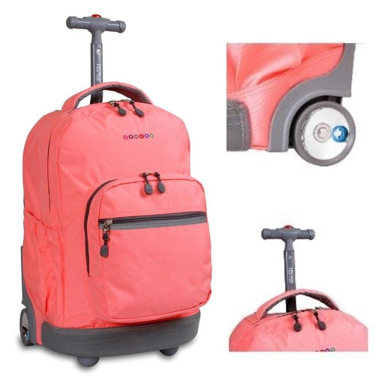 Pink #Rolling Backpack #School #Bookbag #Wheeled #Travel #Luggage Girls Womens #College #JWorld #Backpack #ShoppingOnlineDeals #DanAnnStore #Buyablepins #Follow #Buy