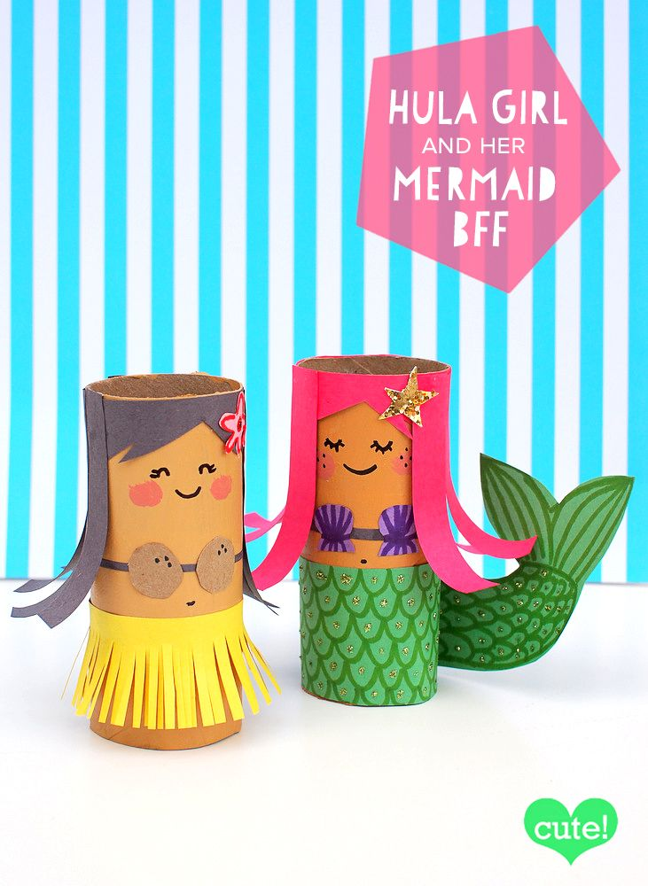 How adorable are these two! You could make a sweet beach house out of cereal boxes to go with them and a pool from a tissue box!