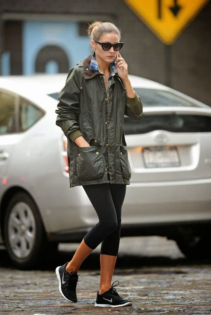 olivia palermo - outfit that always works, trainers, leggins and a parka jacket with sunnies