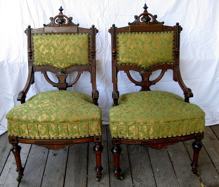 Pair Of Victorian Chairs Acanthus, Papyrus, Ebonization, Turned Legs,  Incising