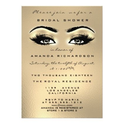 Golden Glass Glitter Makeup Glitter Bridal Shower Card - glitter gifts personalize gift ideas unique