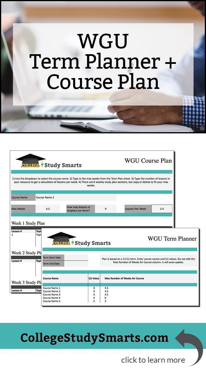 wgu term planner wgu course planner free download to map out a