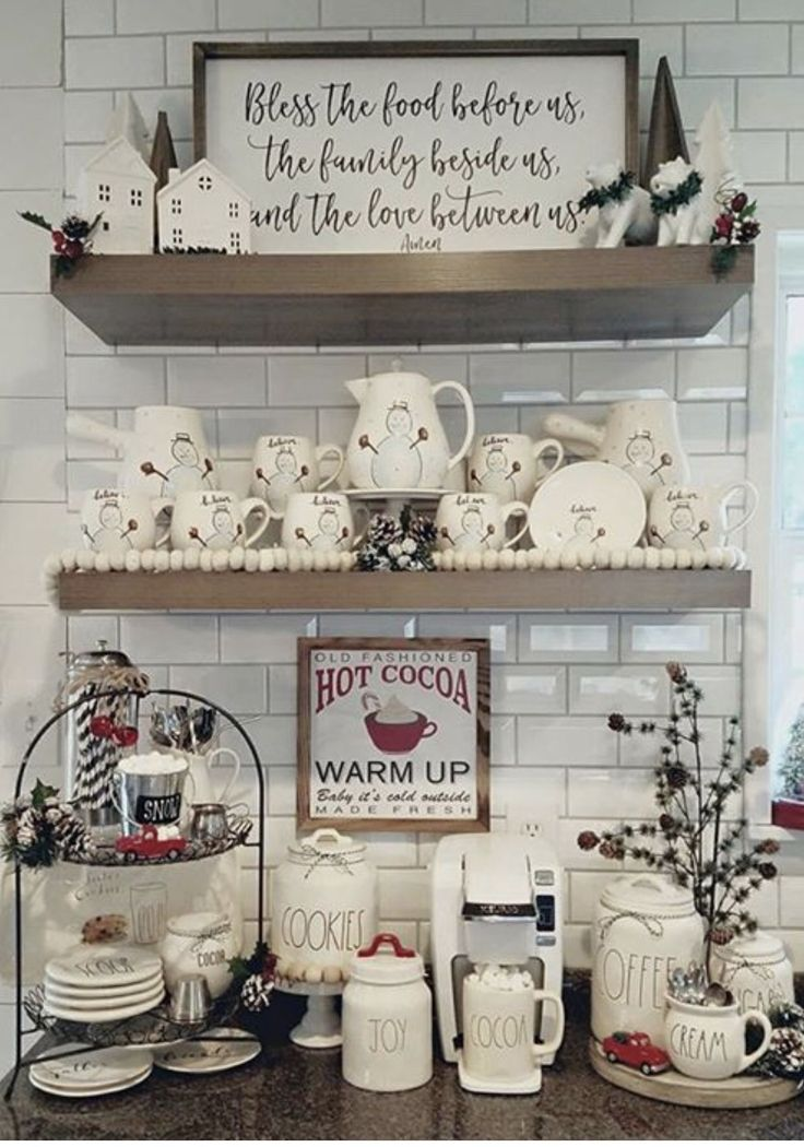 Cute coffee and hot coco bar decorated for the holidsys