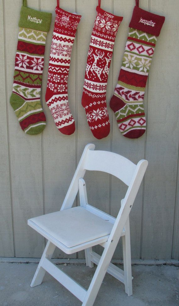 Knit Christmas Stockings - Red White - Renindeer or Snowflake Design. $23.95, via Etsy.