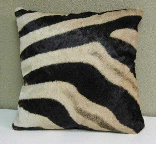 Burchell Zebra hide cushion