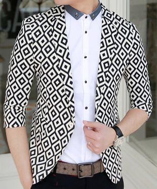 ****Fashionable White Black Design Diamond Print Blazer | www.pilaeo.com #men's #luxury #fashion