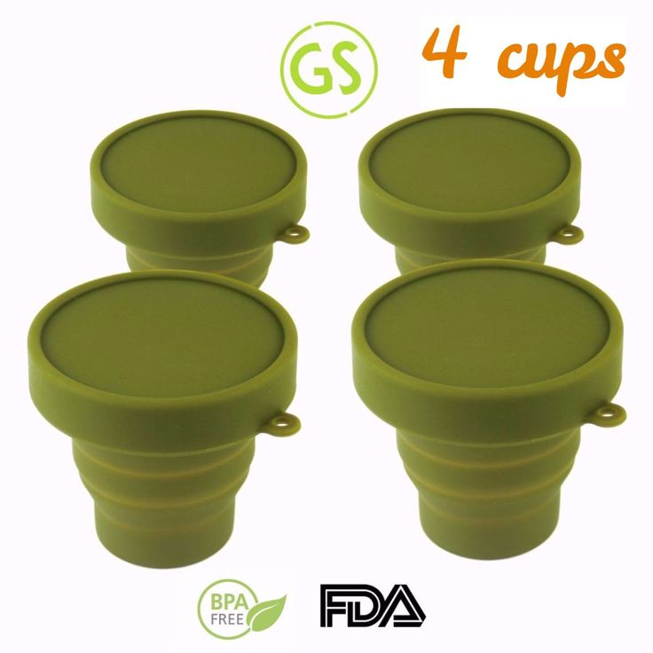 4 Army Green Foldable Cups. Great for fishing, hunting, outdoors. Click the image for details!