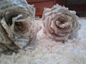 Romantic Story Book Roses made from clippings from romantic novels.