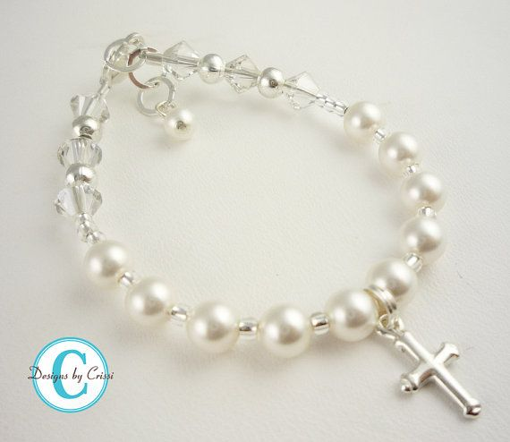 Cross Pearl Rosary Bracelet Crystal Sterling Silver Rosary Prayer, baptism, christening, first communion, flower girl, baby shower gift on Etsy, $18.79 AUD