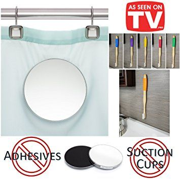 Magnic – 2 Piece Shower Mirror | Mounts on Shower Curtain | Free Magnic Bamboo Toothbrush with wall mount |… Review