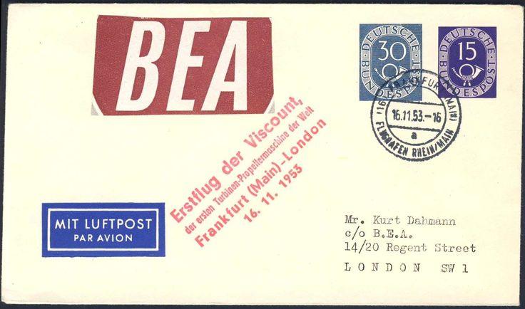 """Germany, Bundesrepublik 1953, Posthorn, 15 Pfg. + 30 Pfg.-GA-Privat-Umschlag, mit Zudruck """"BEA/Erstflug der Viscount, der ersten Turbinen-Propellermaschine der Welt, Frankfurt-London 16.11.1953"""", gelaufen (Mi.-Nr.PU 5/1). Price Estimate (8/2016): 20 EUR."""