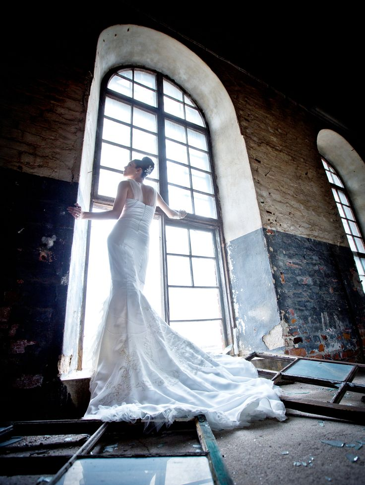 This old factory gave a breathtaking surroundings for the chiffon gown where two hand painted stallions gallop on the train. Picture credit: Oscar Lindell