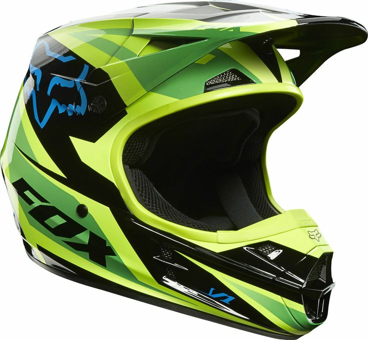 NEW 2014 FOX RACING V1 RACE GREEN HELMET MOTOCROSS SX MX ATV OFF ROAD ...