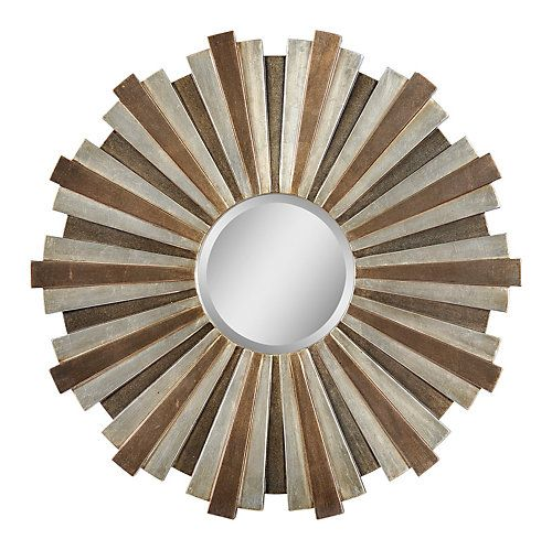 Warm complementary tones of beige, bronze and copper alternate around a center bevelled mirror on this beautifully rich and versatile piece.