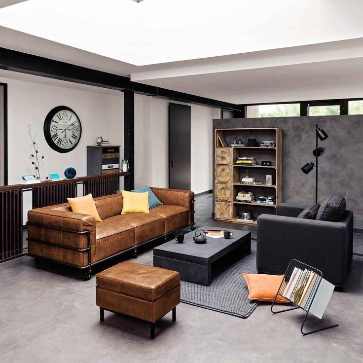 Fauteuil en coton anthracite Milano | Maisons du Monde