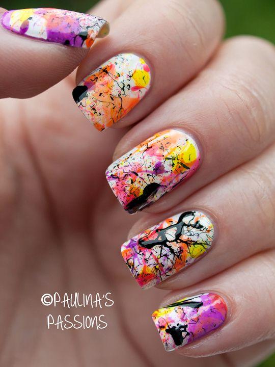 Neon Splatter Nails #temporarytattoos #nailart
