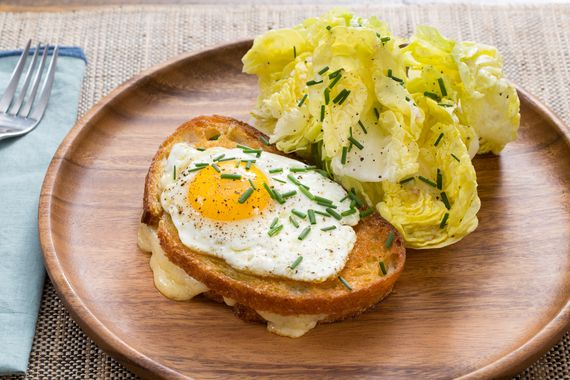 Smoky Gruyere Grilled Cheese with Fried Eggs & Butter Lettuce Salad. Visit https://www.blueapron.com/ to receive the ingredients.