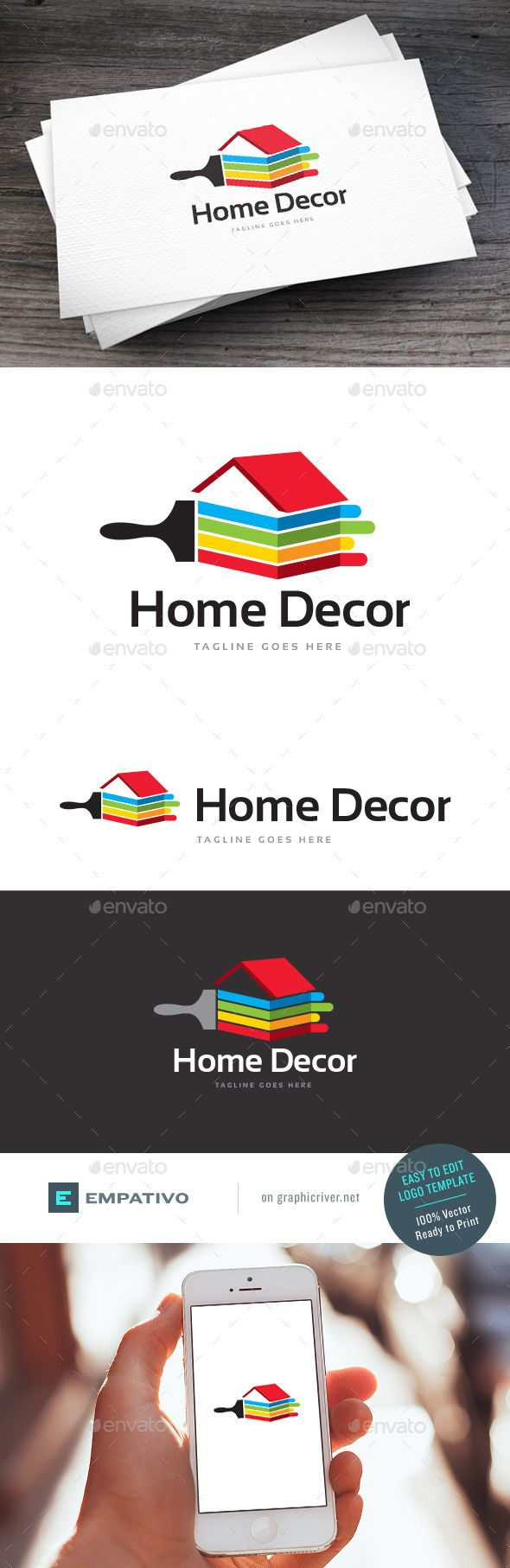 Home Decor Logo Template #vector #eps #brush #construction company • Available here → https://graphicriver.net/item/home-decor-logo-template/11590458?ref=pxcr
