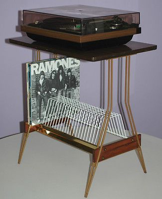 MID CENTURY TURNTABLE STAND FOR RECORD PLAYER W/ VINYL ALBUM STORAGE RACK