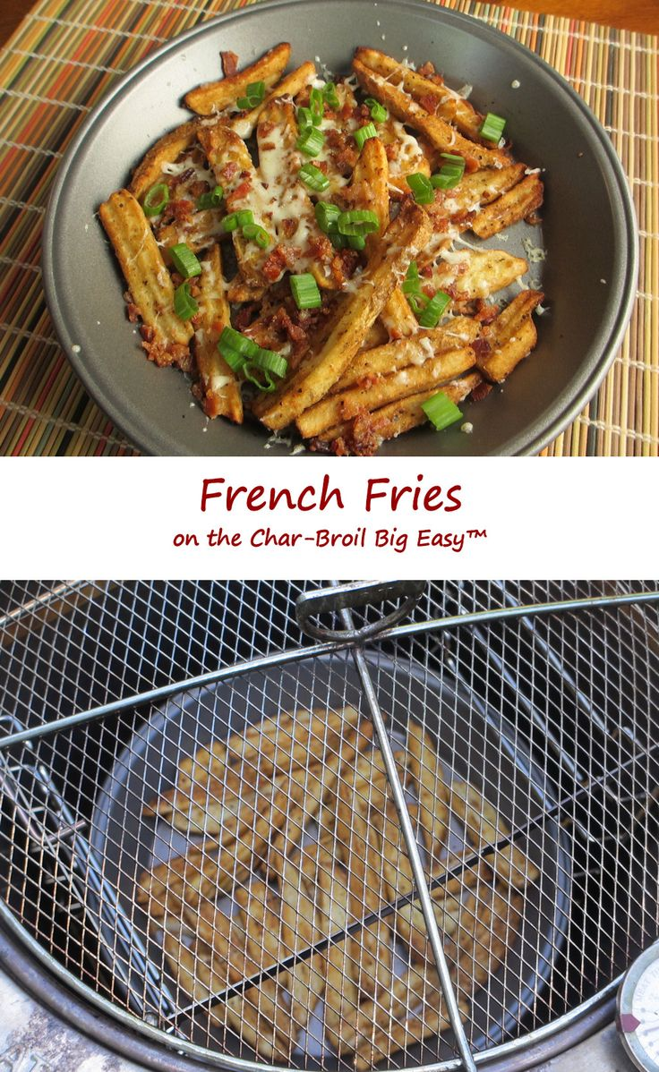 Woo hoo! French fries on the Char-Broil Big Easy! Crispy, hot French fries! Perfection in a pan, and ready in only minutes. Don't want to heat up the house with the oven making fries during the warmer months? Just toss some (frozen) fries into the Big Easy!