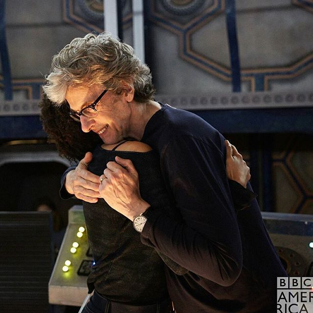 Peter and Pearl hug it out on the last day of filming Doctor Who Series 10.