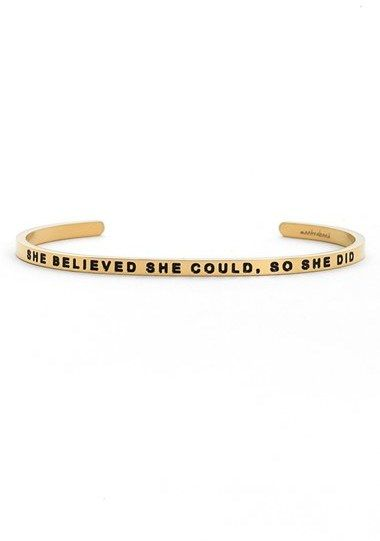 Women's Mantraband 'She Believed She Could' Cuff