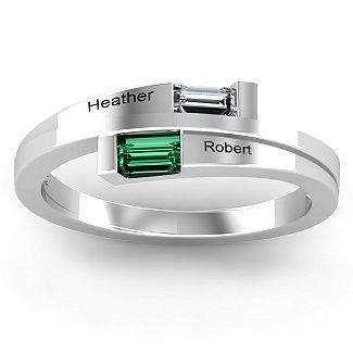 Double Baguette Bypass Ring | Jewlr